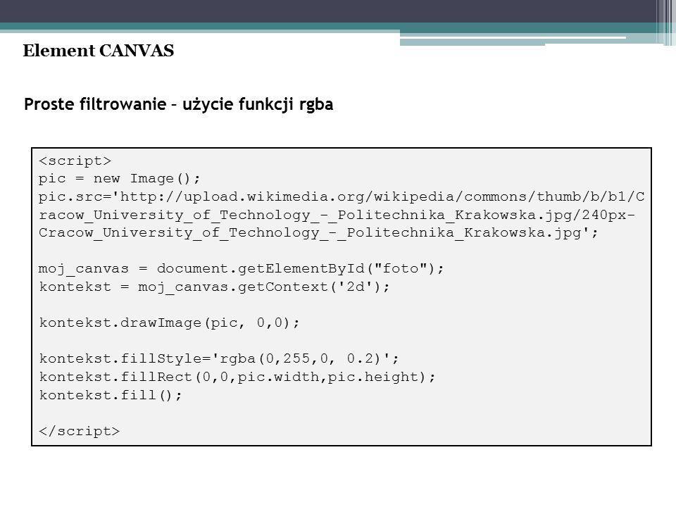 Proste filtrowanie – użycie funkcji rgba Element CANVAS pic = new Image(); pic.src= http://upload.wikimedia.org/wikipedia/commons/thumb/b/b1/C racow_University_of_Technology_-_Politechnika_Krakowska.jpg/240px- Cracow_University_of_Technology_-_Politechnika_Krakowska.jpg ; moj_canvas = document.getElementById( foto ); kontekst = moj_canvas.getContext( 2d ); kontekst.drawImage(pic, 0,0); kontekst.fillStyle= rgba(0,255,0, 0.2) ; kontekst.fillRect(0,0,pic.width,pic.height); kontekst.fill();