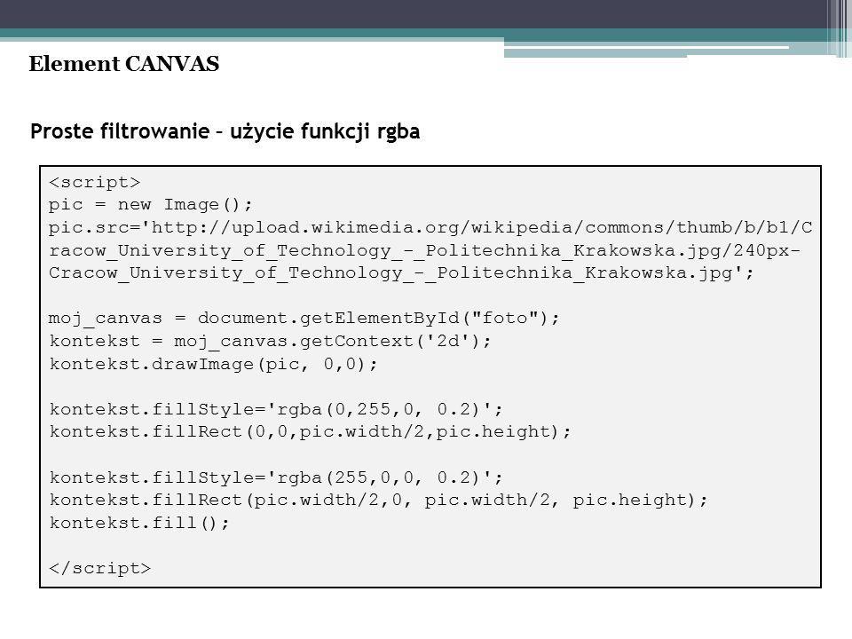 Proste filtrowanie – użycie funkcji rgba Element CANVAS pic = new Image(); pic.src= http://upload.wikimedia.org/wikipedia/commons/thumb/b/b1/C racow_University_of_Technology_-_Politechnika_Krakowska.jpg/240px- Cracow_University_of_Technology_-_Politechnika_Krakowska.jpg ; moj_canvas = document.getElementById( foto ); kontekst = moj_canvas.getContext( 2d ); kontekst.drawImage(pic, 0,0); kontekst.fillStyle= rgba(0,255,0, 0.2) ; kontekst.fillRect(0,0,pic.width/2,pic.height); kontekst.fillStyle= rgba(255,0,0, 0.2) ; kontekst.fillRect(pic.width/2,0, pic.width/2, pic.height); kontekst.fill();