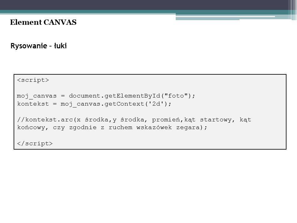 Rysowanie – łuki Element CANVAS moj_canvas = document.getElementById( foto ); kontekst = moj_canvas.getContext( 2d ); //kontekst.arc(x środka,y środka, promień,kąt startowy, kąt końcowy, czy zgodnie z ruchem wskazówek zegara);