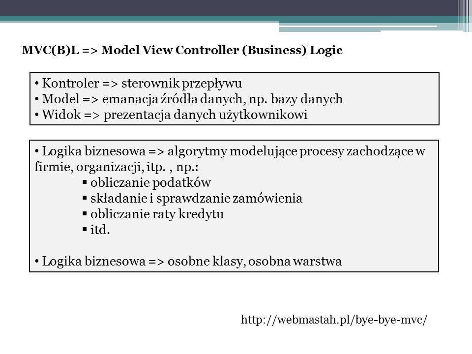 Kontroler => sterownik przepływu Model => emanacja źródła danych, np.