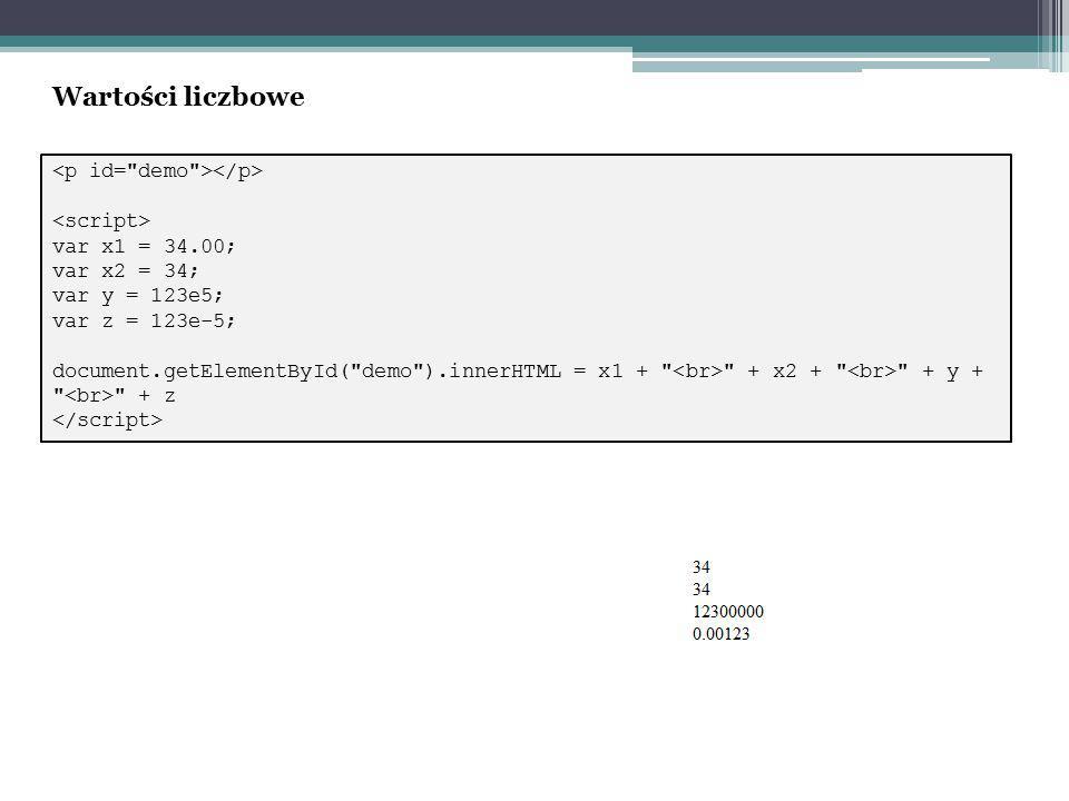 var x1 = 34.00; var x2 = 34; var y = 123e5; var z = 123e-5; document.getElementById( demo ).innerHTML = x1 + + x2 + + y + + z Wartości liczbowe