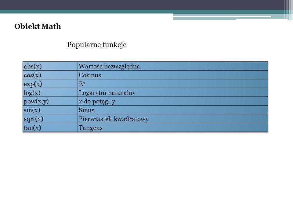 Obiekt Math Popularne funkcje