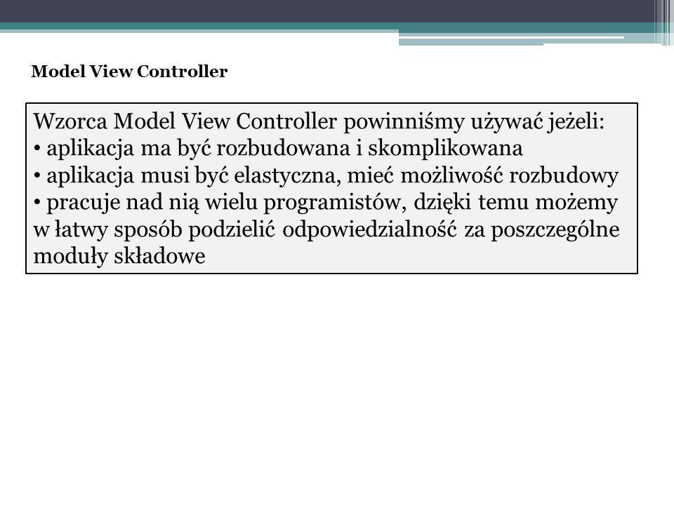 Wzorca Model View Controller powinniśmy używać jeżeli: aplikacja ma być rozbudowana i skomplikowana aplikacja musi być elastyczna, mieć możliwość rozbudowy pracuje nad nią wielu programistów, dzięki temu możemy w łatwy sposób podzielić odpowiedzialność za poszczególne moduły składowe Model View Controller