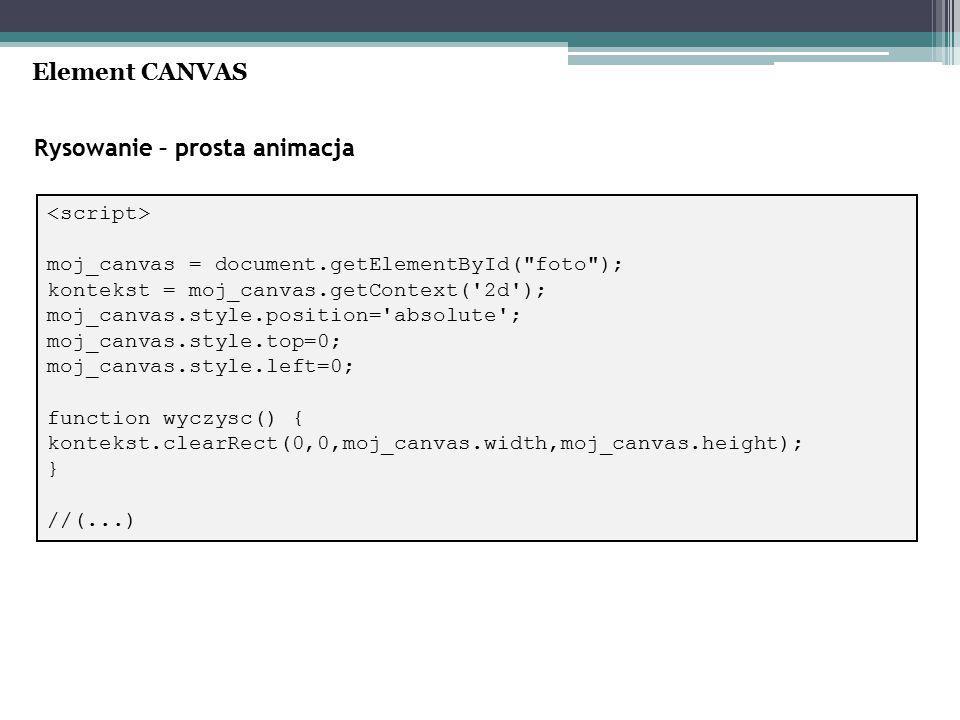 Rysowanie – prosta animacja Element CANVAS moj_canvas = document.getElementById( foto ); kontekst = moj_canvas.getContext( 2d ); moj_canvas.style.position= absolute ; moj_canvas.style.top=0; moj_canvas.style.left=0; function wyczysc() { kontekst.clearRect(0,0,moj_canvas.width,moj_canvas.height); } //(...)