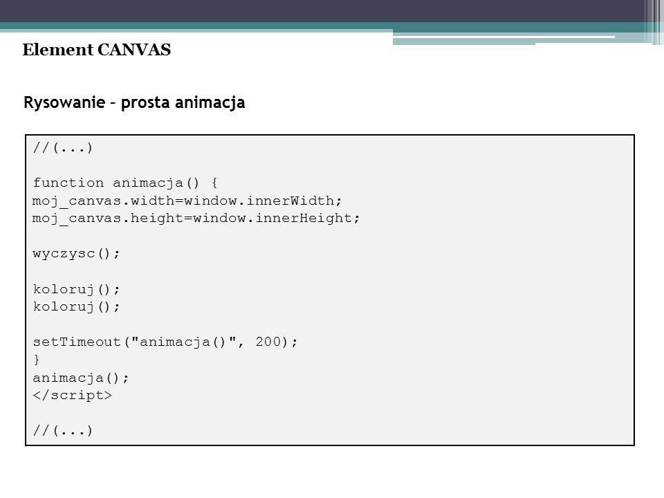 Rysowanie – prosta animacja Element CANVAS //(...) function animacja() { moj_canvas.width=window.innerWidth; moj_canvas.height=window.innerHeight; wyczysc(); koloruj(); setTimeout( animacja() , 200); } animacja(); //(...)