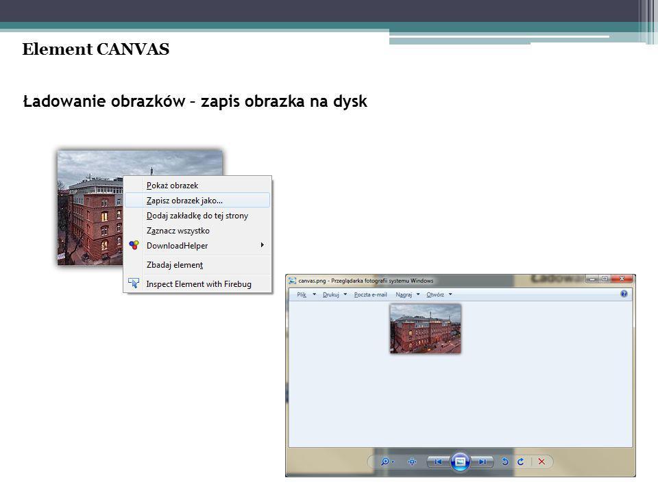 Ładowanie obrazków – zapis obrazka na dysk Element CANVAS