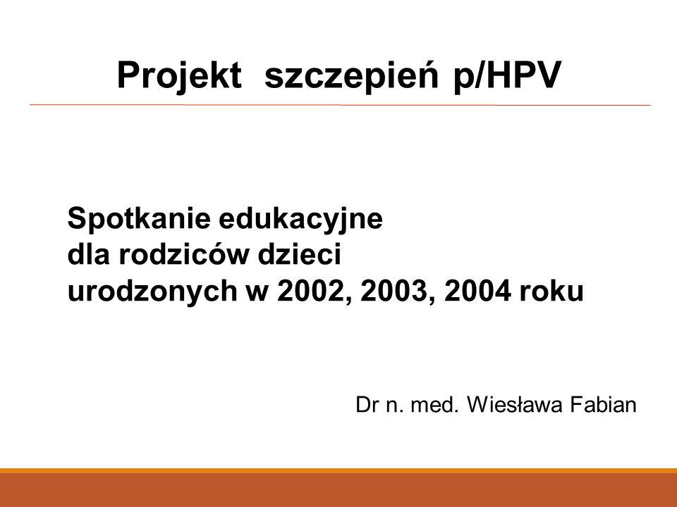 Spotkanie edukacyjne dla rodziców dzieci urodzonych w 2002, 2003, 2004 roku Dr n. med. Wiesława Fabian Projekt szczepień p/HPV