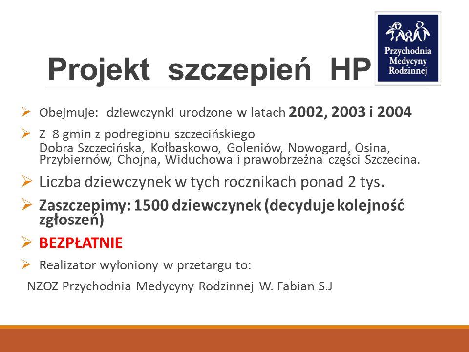 Projekt szczepień HPV  Obejmuje: dziewczynki urodzone w latach 2002, 2003 i 2004  Z 8 gmin z podregionu szczecińskiego Dobra Szczecińska, Kołbaskowo, Goleniów, Nowogard, Osina, Przybiernów, Chojna, Widuchowa i prawobrzeżna części Szczecina.