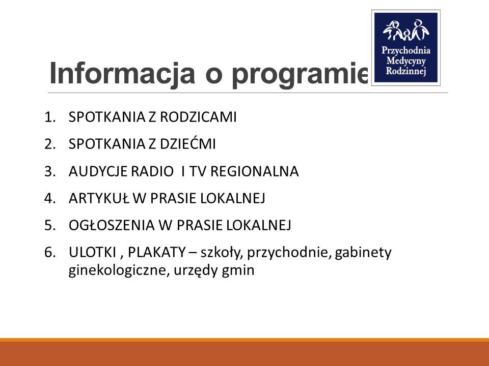 Informacja o programie 1.SPOTKANIA Z RODZICAMI 2.SPOTKANIA Z DZIEĆMI 3.AUDYCJE RADIO I TV REGIONALNA 4.ARTYKUŁ W PRASIE LOKALNEJ 5.OGŁOSZENIA W PRASIE