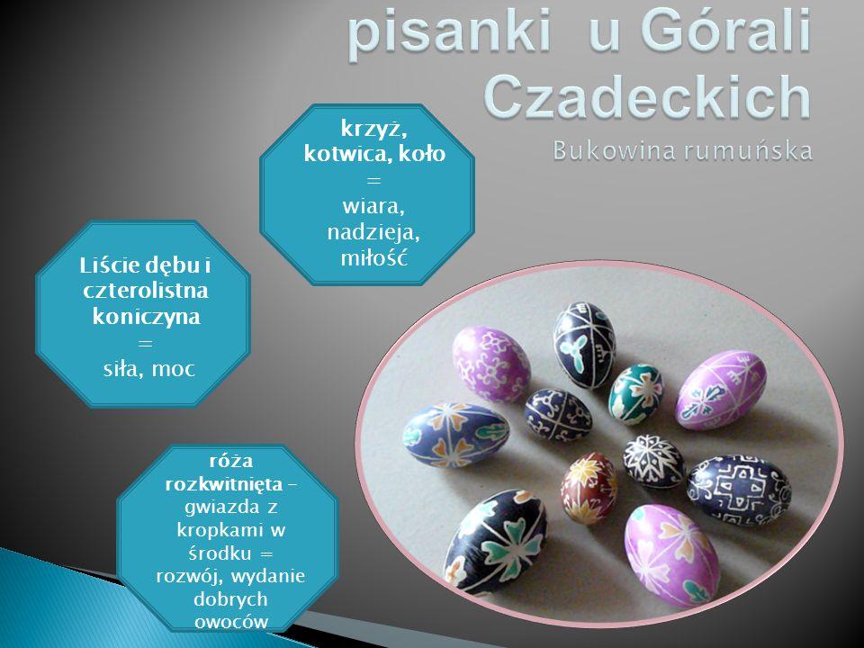  Motywy dekoracyjne umieszczone na jajach miały określone znaczenie:  ; róża rozkwitnięta - gwiazda z kropkami w środku = rozwój, wydanie dobrych ow
