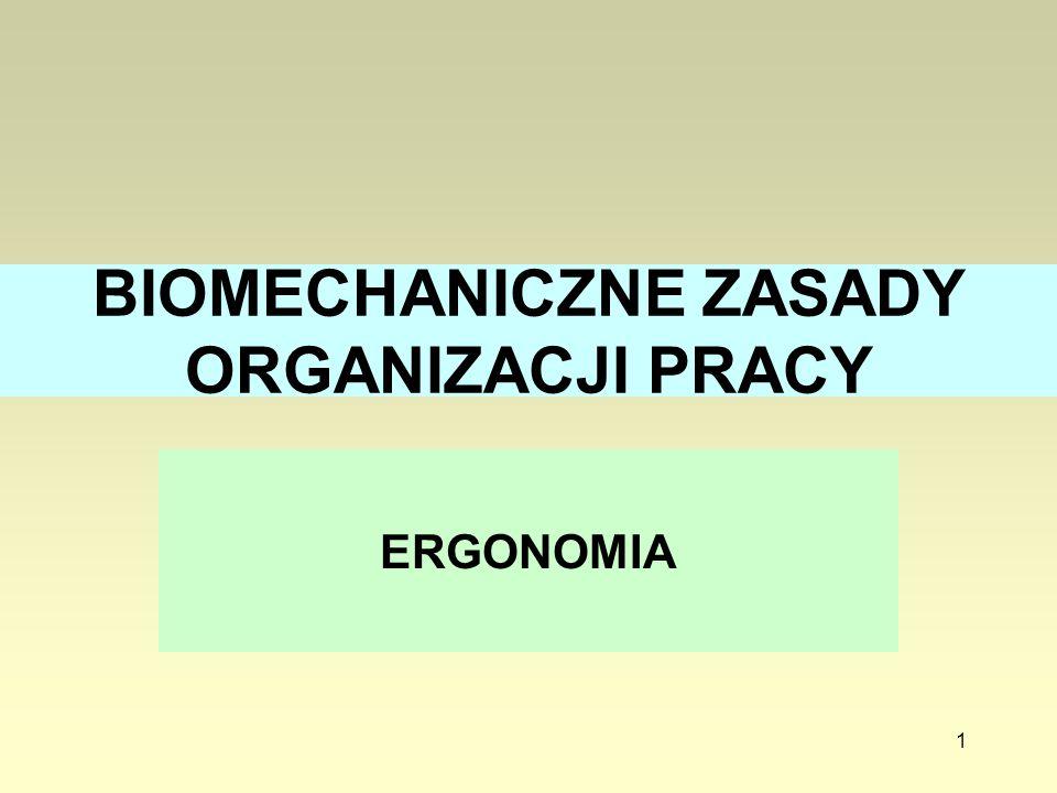 1 BIOMECHANICZNE ZASADY ORGANIZACJI PRACY ERGONOMIA