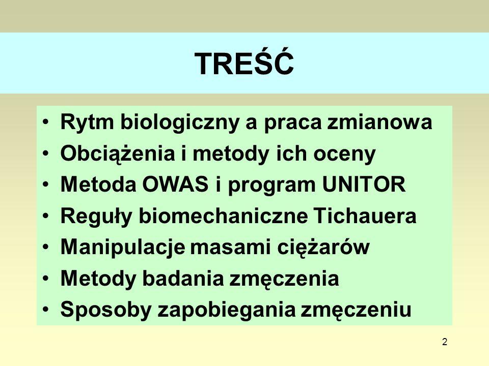 2 TREŚĆ Rytm biologiczny a praca zmianowa Obciążenia i metody ich oceny Metoda OWAS i program UNITOR Reguły biomechaniczne Tichauera Manipulacje masam
