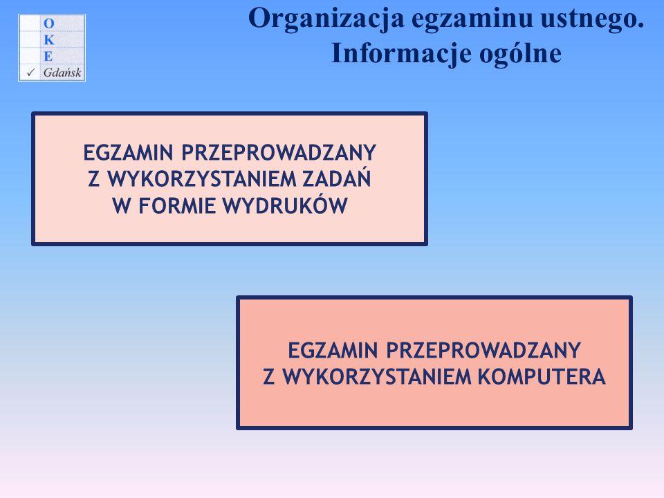 Organizacja egzaminu ustnego. Informacje ogólne EGZAMIN PRZEPROWADZANY Z WYKORZYSTANIEM ZADAŃ W FORMIE WYDRUKÓW EGZAMIN PRZEPROWADZANY Z WYKORZYSTANIE