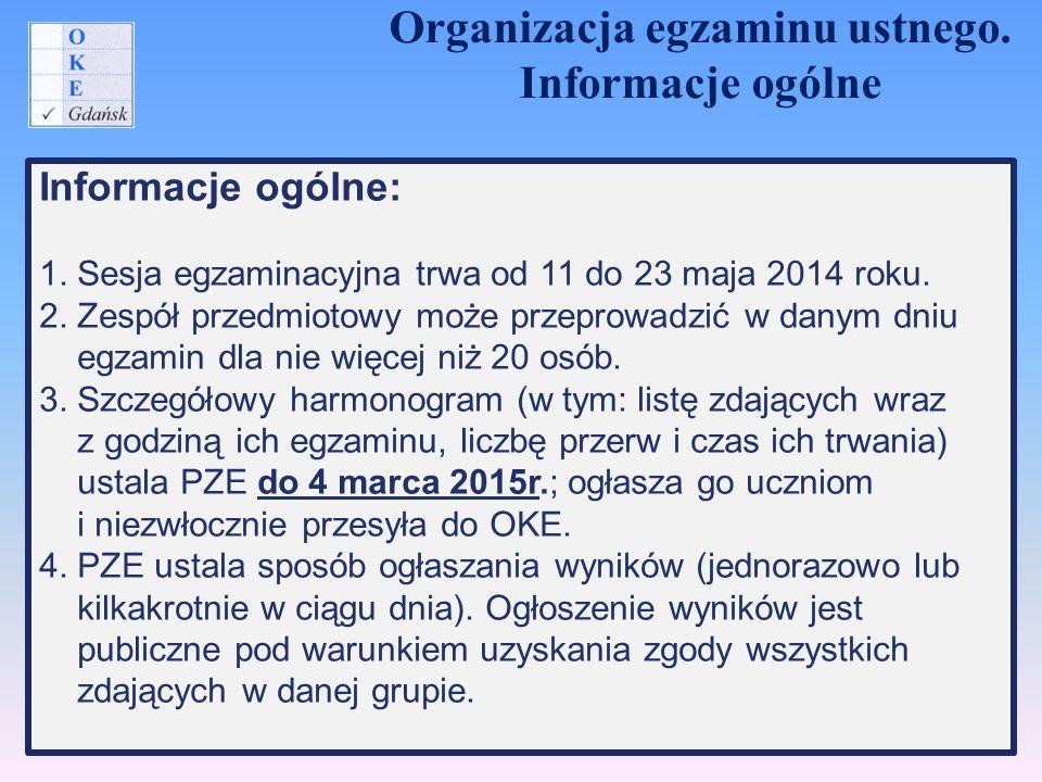 Informacje ogólne: 1. Sesja egzaminacyjna trwa od 11 do 23 maja 2014 roku. 2. Zespół przedmiotowy może przeprowadzić w danym dniu egzamin dla nie więc