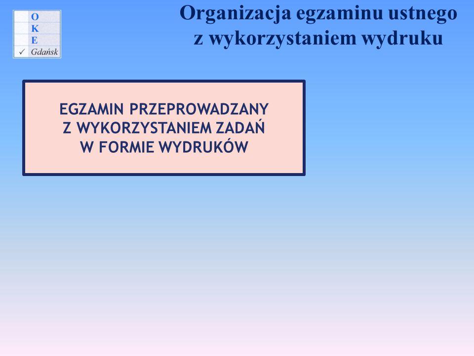 Organizacja egzaminu ustnego z wykorzystaniem wydruku EGZAMIN PRZEPROWADZANY Z WYKORZYSTANIEM ZADAŃ W FORMIE WYDRUKÓW