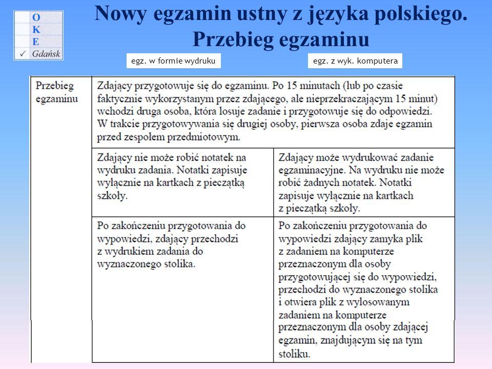 Nowy egzamin ustny z języka polskiego. Przebieg egzaminu egz. w formie wydrukuegz. z wyk. komputera