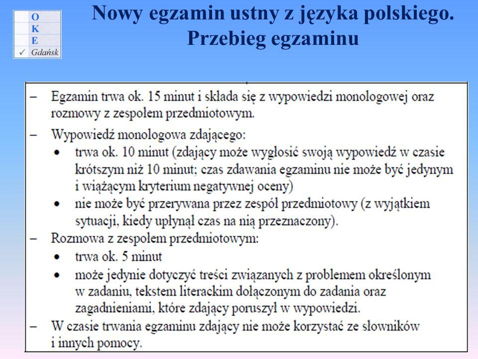 Nowy egzamin ustny z języka polskiego. Przebieg egzaminu