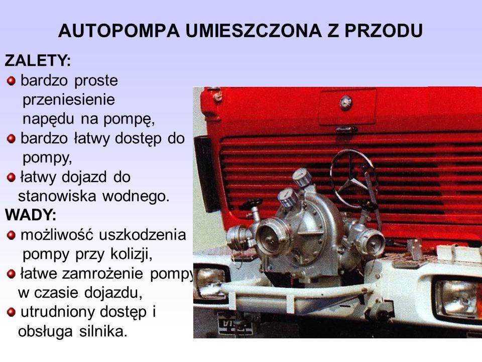 AUTOPOMPA UMIESZCZONA Z PRZODU ZALETY: bardzo proste przeniesienie napędu na pompę, bardzo łatwy dostęp do pompy, łatwy dojazd do stanowiska wodnego.