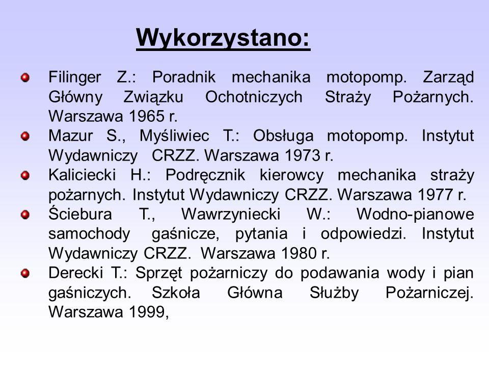 Wykorzystano: Filinger Z.: Poradnik mechanika motopomp. Zarząd Główny Związku Ochotniczych Straży Pożarnych. Warszawa 1965 r. Mazur S., Myśliwiec T.: