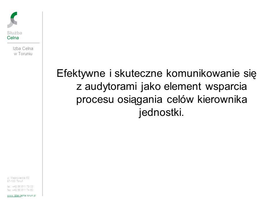 Program zasady komunikacji w praktyce sprzężenia zwrotne uczestników procesu audytu szczególna rola kierownika jednostki w budowaniu prawidłowej komunikacji z audytorami wartość dodana audytu na przykładzie Izby Celnej w Toruniu