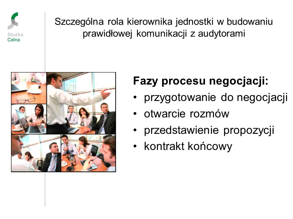 Szczególna rola kierownika jednostki w budowaniu prawidłowej komunikacji z audytorami Fazy procesu negocjacji: przygotowanie do negocjacji otwarcie ro