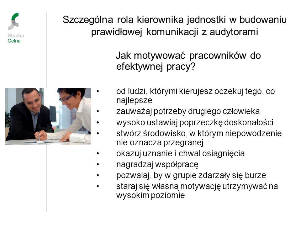 Szczególna rola kierownika jednostki w budowaniu prawidłowej komunikacji z audytorami Jak motywować pracowników do efektywnej pracy? od ludzi, którymi