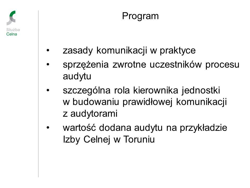 Program zasady komunikacji w praktyce sprzężenia zwrotne uczestników procesu audytu szczególna rola kierownika jednostki w budowaniu prawidłowej komun