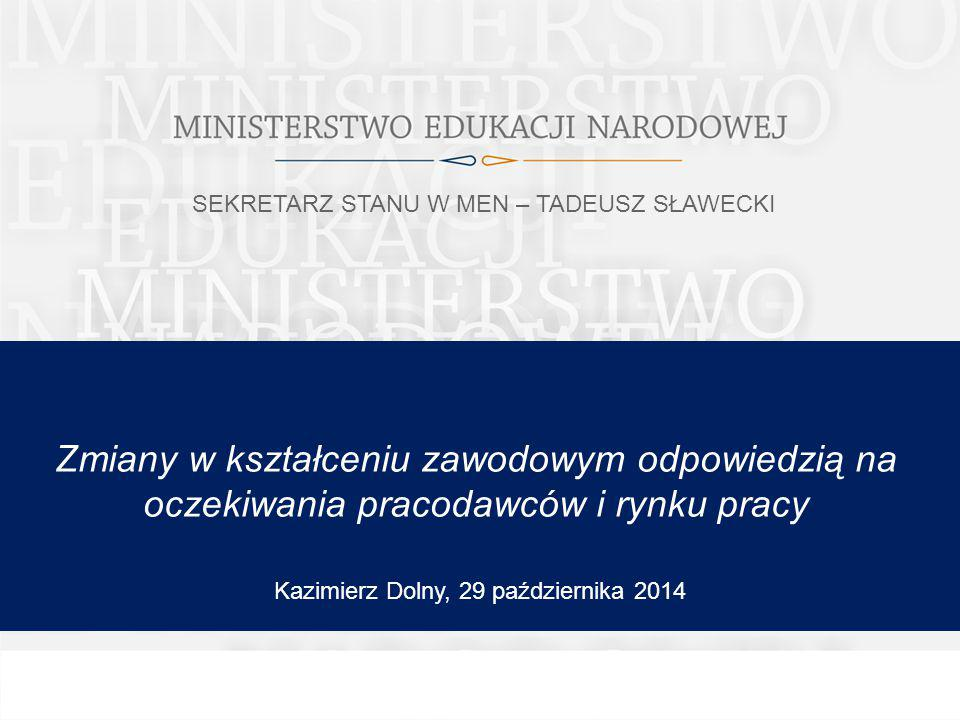 Zmiany w kształceniu zawodowym odpowiedzią na oczekiwania pracodawców i rynku pracy Kazimierz Dolny, 29 października 2014 SEKRETARZ STANU W MEN – TADEUSZ SŁAWECKI