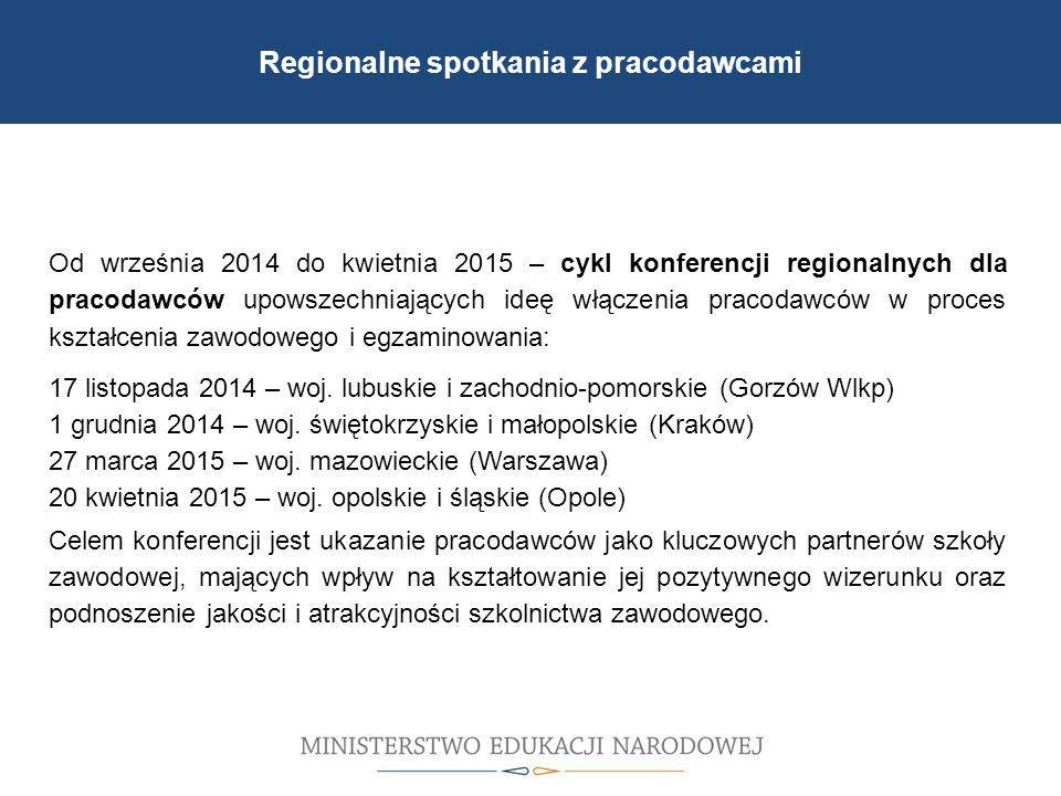 Od września 2014 do kwietnia 2015 – cykl konferencji regionalnych dla pracodawców upowszechniających ideę włączenia pracodawców w proces kształcenia zawodowego i egzaminowania: 17 listopada 2014 – woj.
