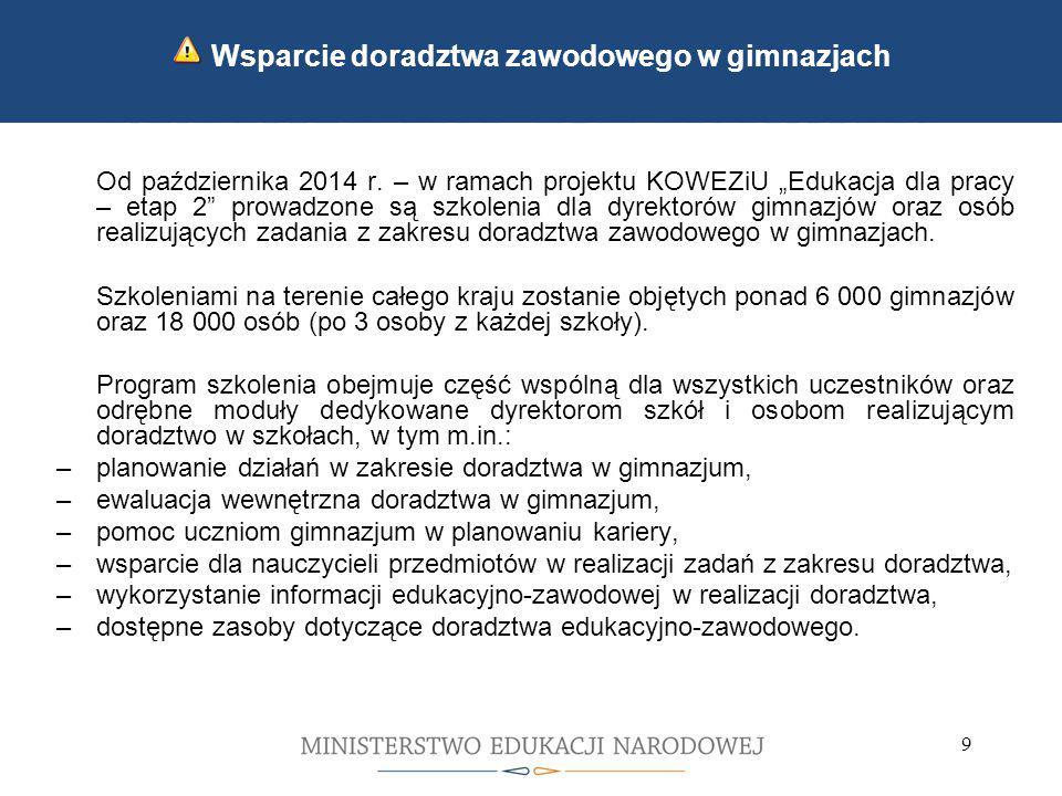 10 Kontynuacja wdrażania zmian wprowadzonych we wrześniu 2012 Rozporządzenie Ministra Edukacji Narodowej z dnia 8 sierpnia 2014 r.