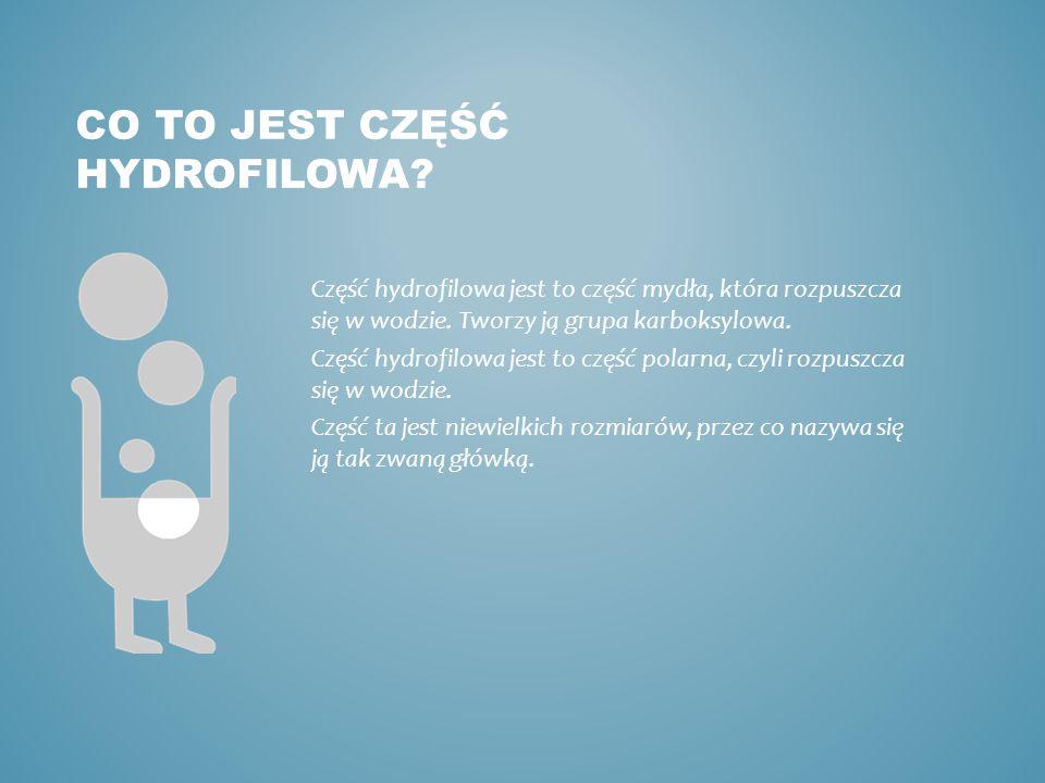 CO TO JEST CZĘŚĆ HYDROFILOWA? Część hydrofilowa jest to część mydła, która rozpuszcza się w wodzie. Tworzy ją grupa karboksylowa. Część hydrofilowa je