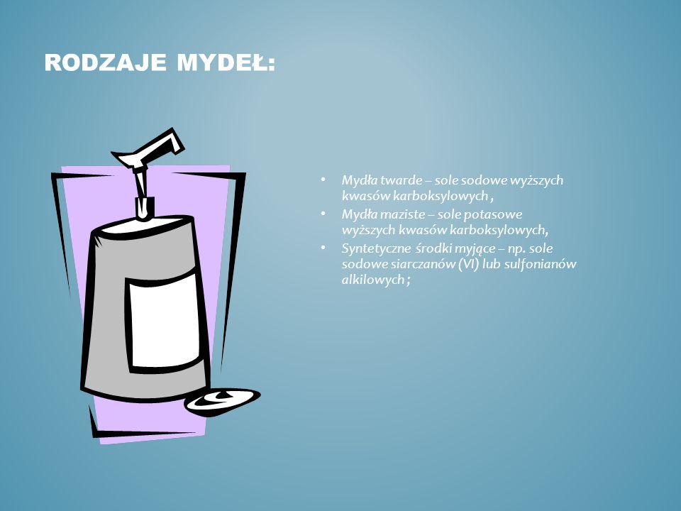 RODZAJE MYDEŁ: Mydła twarde – sole sodowe wyższych kwasów karboksylowych, Mydła maziste – sole potasowe wyższych kwasów karboksylowych, Syntetyczne środki myjące – np.