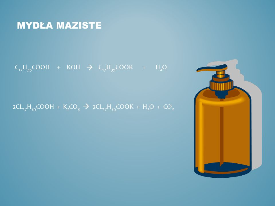 MYDŁA MAZISTE 2CL 17 H 35 COOH + K 2 CO 3  2CL 17 H 35 COOK + H 2 O + CO 2 C 17 H 35 COOH  C 17 H 35 COOK+ + KOH H2OH2O