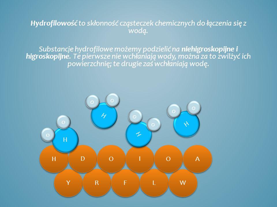 Hydrofilowość to skłonność cząsteczek chemicznych do łączenia się z wodą. Substancje hydrofilowe możemy podzielić na niehigroskopijne i higroskopijne.