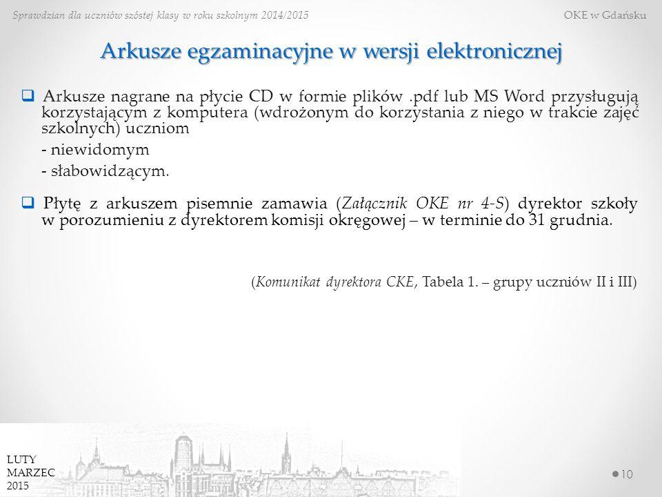 10 Sprawdzian dla uczniów szóstej klasy w roku szkolnym 2014/2015 OKE w Gdańsku  Arkusze nagrane na płycie CD w formie plików.pdf lub MS Word przysługują korzystającym z komputera (wdrożonym do korzystania z niego w trakcie zajęć szkolnych) uczniom - niewidomym - słabowidzącym.