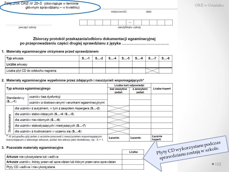 105 Sprawdzian dla uczniów szóstej klasy w roku szkolnym 2014/2015 OKE w Gdańsku LUTY MARZEC 2015 Płyty CD wykorzystane podczas sprawdzianu zostają w szkole.