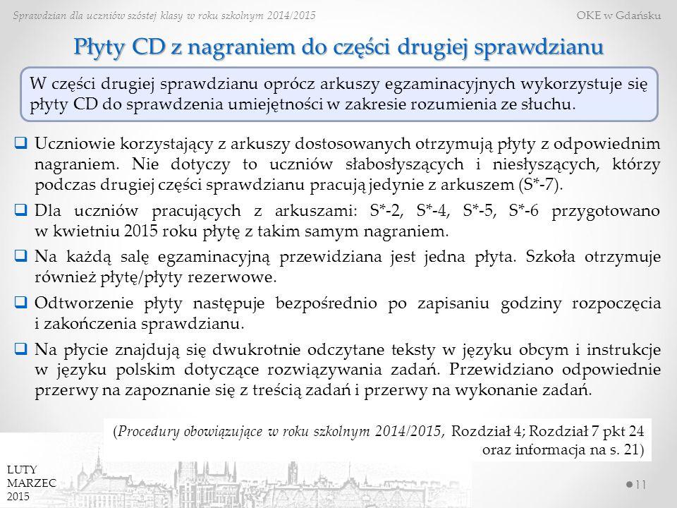 11 Sprawdzian dla uczniów szóstej klasy w roku szkolnym 2014/2015 OKE w Gdańsku (Procedury obowiązujące w roku szkolnym 2014/2015, Rozdział 4; Rozdzia