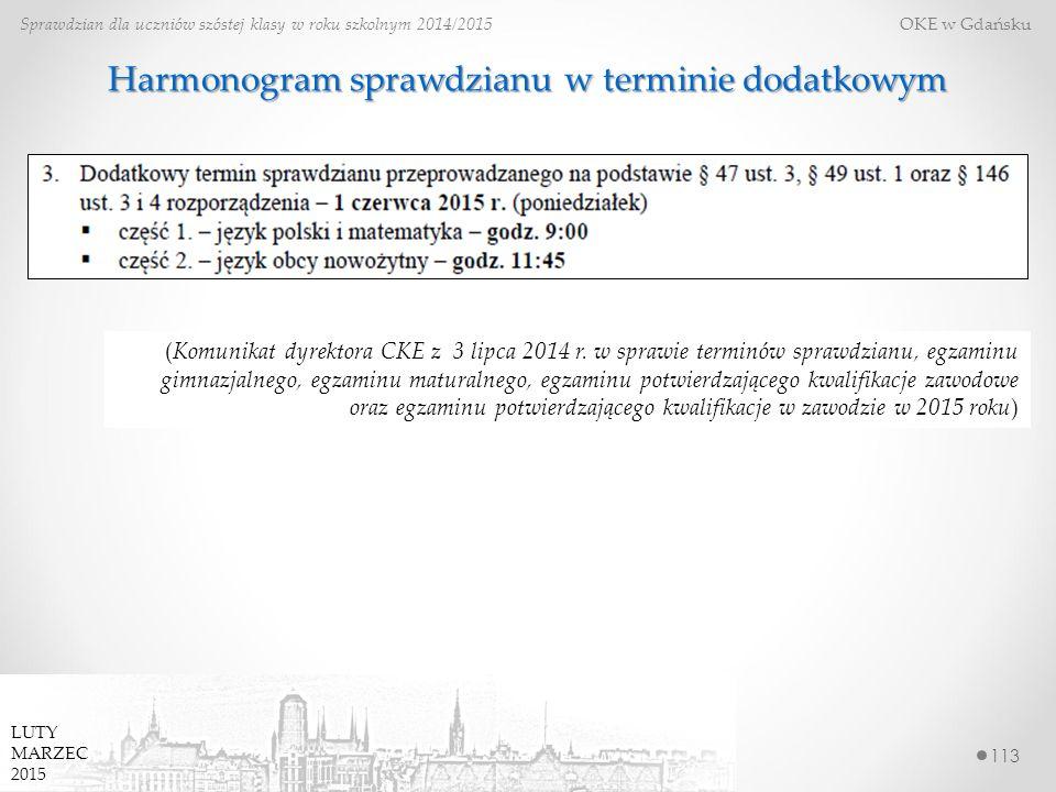 113 Sprawdzian dla uczniów szóstej klasy w roku szkolnym 2014/2015 OKE w Gdańsku LUTY MARZEC 2015 Harmonogram sprawdzianu w terminie dodatkowym (Komunikat dyrektora CKE z 3 lipca 2014 r.