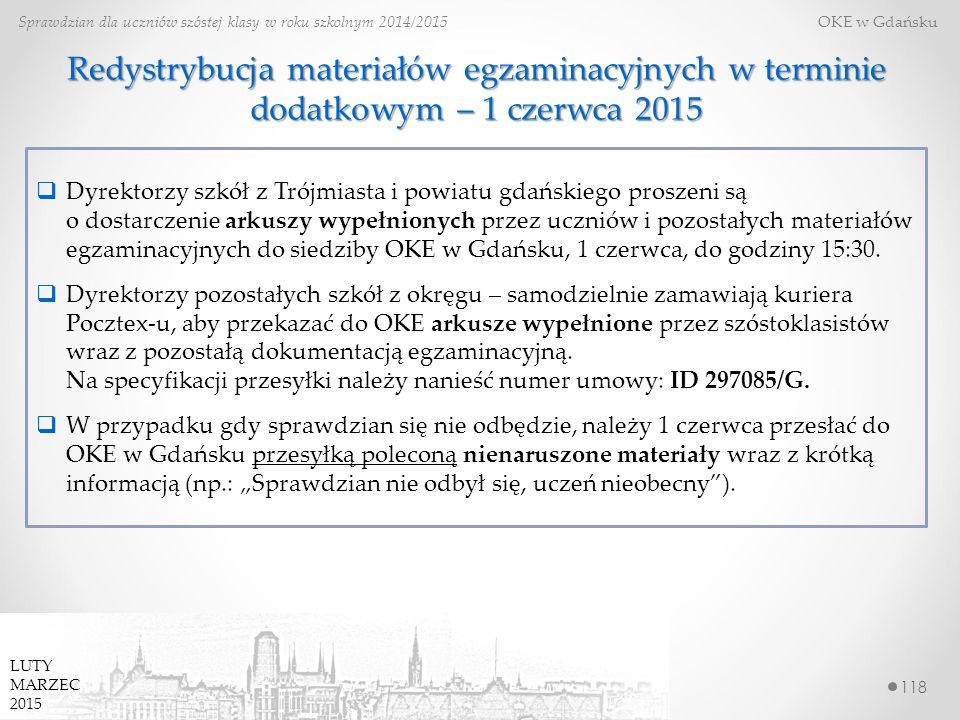 118 Sprawdzian dla uczniów szóstej klasy w roku szkolnym 2014/2015 OKE w Gdańsku LUTY MARZEC 2015 Redystrybucja materiałów egzaminacyjnych w terminie