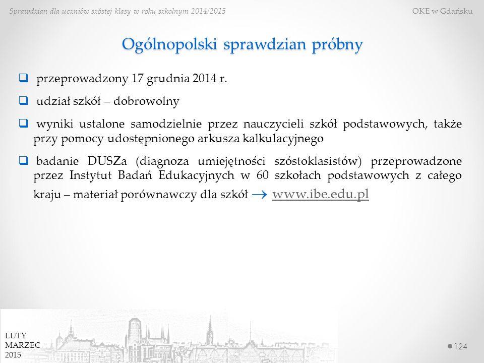 Ogólnopolski sprawdzian próbny 124 Sprawdzian dla uczniów szóstej klasy w roku szkolnym 2014/2015 OKE w Gdańsku  przeprowadzony 17 grudnia 2014 r.