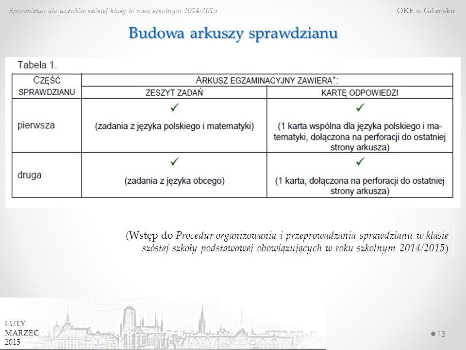 13 Sprawdzian dla uczniów szóstej klasy w roku szkolnym 2014/2015 OKE w Gdańsku Budowa arkuszy sprawdzianu (Wstęp do Procedur organizowania i przeprowadzania sprawdzianu w klasie szóstej szkoły podstawowej obowiązujących w roku szkolnym 2014/2015) LUTY MARZEC 2015