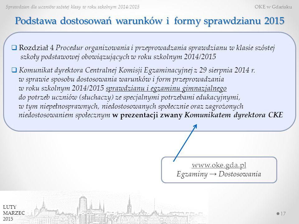 Podstawa dostosowań warunków i formy sprawdzianu 2015 17 Sprawdzian dla uczniów szóstej klasy w roku szkolnym 2014/2015 OKE w Gdańsku www.oke.gda.pl E