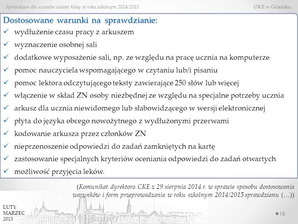 18 Sprawdzian dla uczniów szóstej klasy w roku szkolnym 2014/2015 OKE w Gdańsku Dostosowane warunki na sprawdzianie: wydłużenie czasu pracy z arkuszem