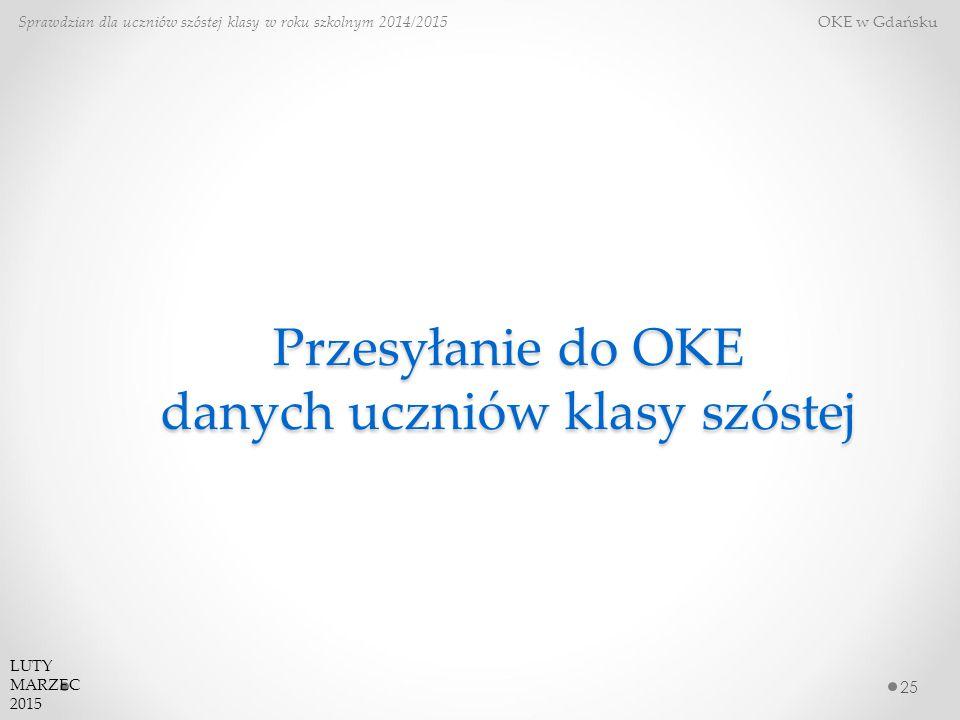 Przesyłanie do OKE danych uczniów klasy szóstej 25 Sprawdzian dla uczniów szóstej klasy w roku szkolnym 2014/2015 OKE w Gdańsku LUTY MARZEC 2015