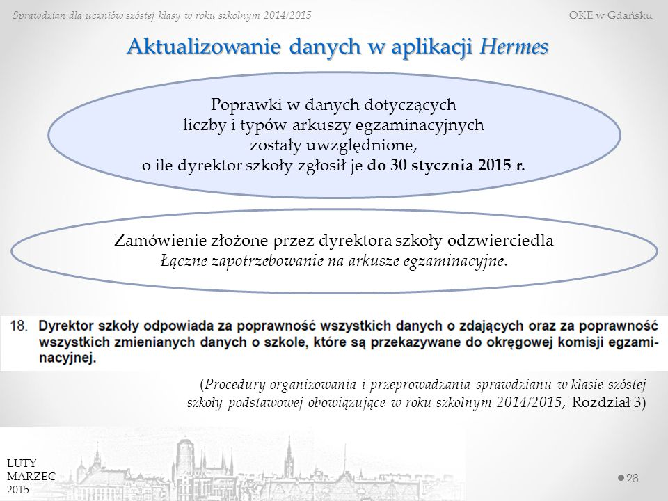 28 Sprawdzian dla uczniów szóstej klasy w roku szkolnym 2014/2015 OKE w Gdańsku Aktualizowanie danych w aplikacji Hermes (Procedury organizowania i przeprowadzania sprawdzianu w klasie szóstej szkoły podstawowej obowiązujące w roku szkolnym 2014/2015, Rozdział 3) Poprawki w danych dotyczących liczby i typów arkuszy egzaminacyjnych zostały uwzględnione, o ile dyrektor szkoły zgłosił je do 30 stycznia 2015 r.