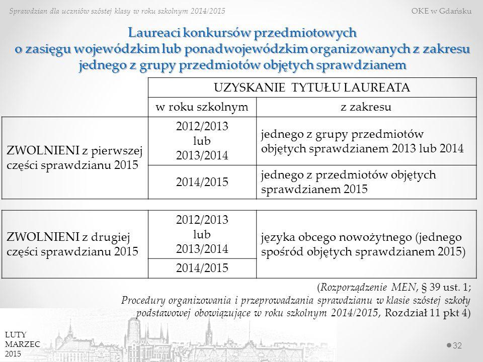 Laureaci konkursów przedmiotowych o zasięgu wojewódzkim lub ponadwojewódzkim organizowanych z zakresu jednego z grupy przedmiotów objętych sprawdzianem 32 Sprawdzian dla uczniów szóstej klasy w roku szkolnym 2014/2015 OKE w Gdańsku (Rozporządzenie MEN, § 39 ust.