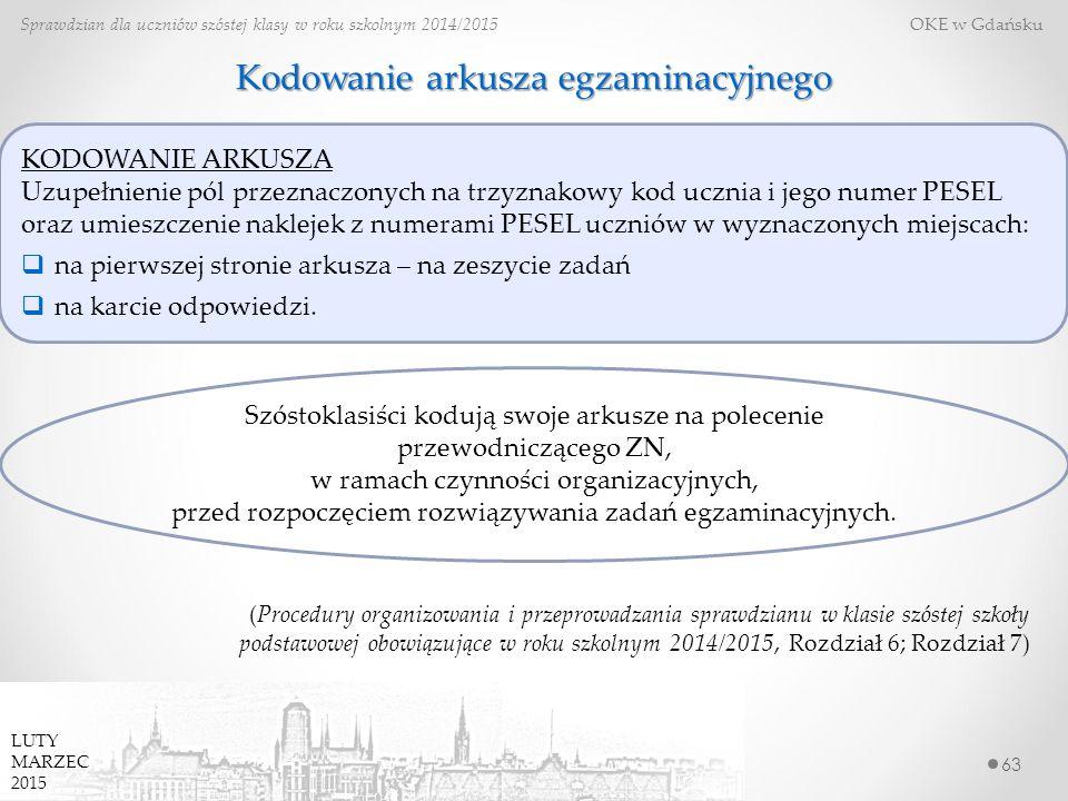 Kodowanie arkusza egzaminacyjnego 63 Sprawdzian dla uczniów szóstej klasy w roku szkolnym 2014/2015 OKE w Gdańsku (Procedury organizowania i przeprowadzania sprawdzianu w klasie szóstej szkoły podstawowej obowiązujące w roku szkolnym 2014/2015, Rozdział 6; Rozdział 7) LUTY MARZEC 2015 Szóstoklasiści kodują swoje arkusze na polecenie przewodniczącego ZN, w ramach czynności organizacyjnych, przed rozpoczęciem rozwiązywania zadań egzaminacyjnych.