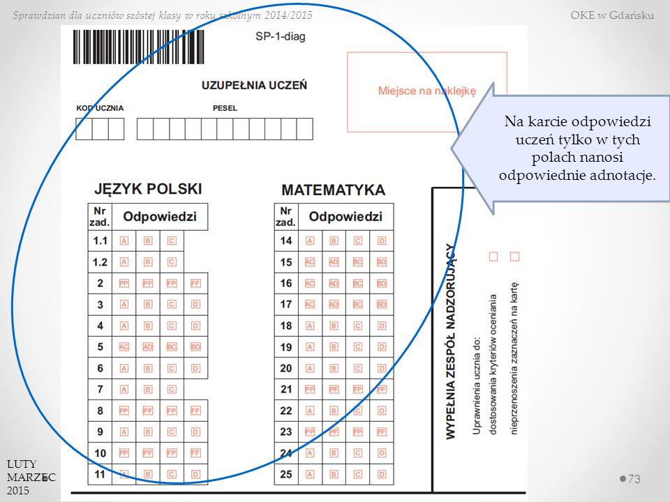 73 Sprawdzian dla uczniów szóstej klasy w roku szkolnym 2014/2015 OKE w Gdańsku LUTY MARZEC 2015 Na karcie odpowiedzi uczeń tylko w tych polach nanosi odpowiednie adnotacje.