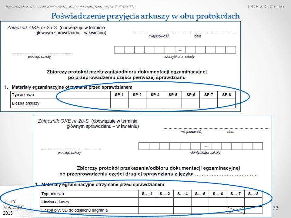 78 Sprawdzian dla uczniów szóstej klasy w roku szkolnym 2014/2015 OKE w Gdańsku LUTY MARZEC 2015 Poświadczenie przyjęcia arkuszy w obu protokołach