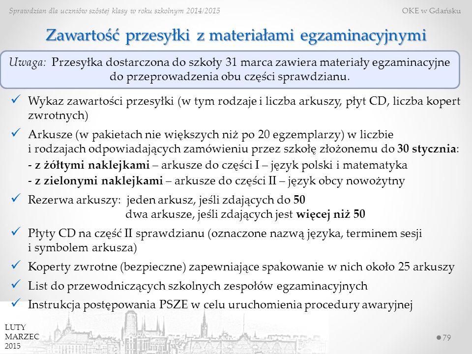79 Sprawdzian dla uczniów szóstej klasy w roku szkolnym 2014/2015 OKE w Gdańsku LUTY MARZEC 2015 Zawartość przesyłki z materiałami egzaminacyjnymi Wykaz zawartości przesyłki (w tym rodzaje i liczba arkuszy, płyt CD, liczba kopert zwrotnych) Arkusze (w pakietach nie większych niż po 20 egzemplarzy) w liczbie i rodzajach odpowiadających zamówieniu przez szkołę złożonemu do 30 stycznia: - z żółtymi naklejkami – arkusze do części I – język polski i matematyka - z zielonymi naklejkami – arkusze do części II – język obcy nowożytny Rezerwa arkuszy: jeden arkusz, jeśli zdających do 50 dwa arkusze, jeśli zdających jest więcej niż 50 Płyty CD na część II sprawdzianu (oznaczone nazwą języka, terminem sesji i symbolem arkusza) Koperty zwrotne (bezpieczne) zapewniające spakowanie w nich około 25 arkuszy List do przewodniczących szkolnych zespołów egzaminacyjnych Instrukcja postępowania PSZE w celu uruchomienia procedury awaryjnej Uwaga: Przesyłka dostarczona do szkoły 31 marca zawiera materiały egzaminacyjne do przeprowadzenia obu części sprawdzianu.